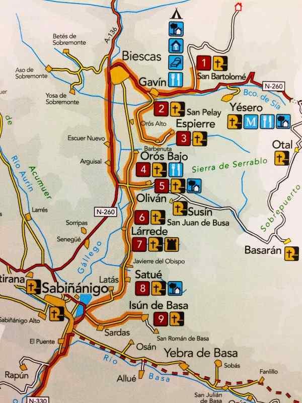 Mapa dela Ruta de las Iglesias del Serrablo